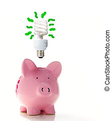 Piggy bank with a CF bulb above smart energy