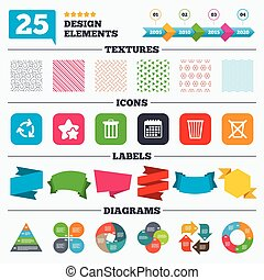 Recycle bin icons Reuse or reduce symbol - Offer sale tags,...
