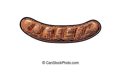 Sausage. Vintage vector engraving illustration