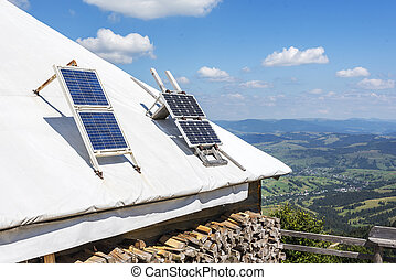 Portable solar panels. - Portable solar panels on the roof...