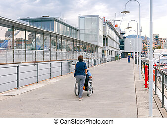 A woman carries a disabled person in a wheelchair. - A woman...