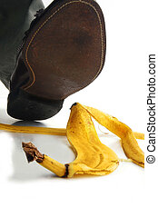 Walking man about to step on a banana peel
