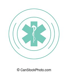medical asclepius rod icon - flat design medical asclepius...