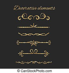 Gold text dividers set. Ornamental decorative elements. Vector ornate design. Golden flourishes. Shiny decorative hand drawn borders with glitter effect.