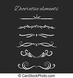 Silver text dividers set. Ornamental decorative elements....