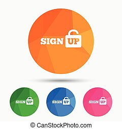 Sign up sign icon. Registration symbol. Lock icon....