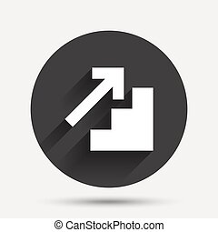 Upstairs icon. Up arrow sign. Circle flat button with...