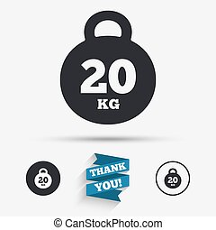 Weight sign icon 20 kilogram kg Sport symbol Fitness Flat...
