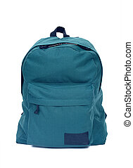 Forest green backpack rucksack bag separated on white...