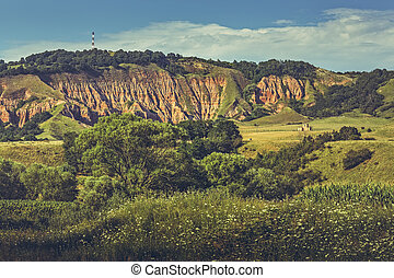 Red Ravine Rapa Rosie Landscape - Panoramic view of the...