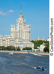 Stalin high-rise building on Kotelnichesky quay in Moscow...