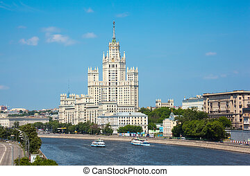 Stalin high-rise building on Kotelnichesky quay in Moscow....