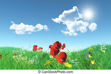 3D poppies in a grassy landscape - 3D render of poppies in a...