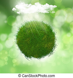 3D render of a grassy globe under a cloud with sunlight