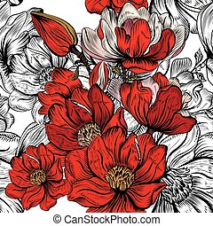 Wallpaper vector pattern with hand drawn magnolia flowers in red color