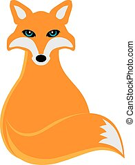 Fox Sitting Illustration - Fox Sitting Color Illustration