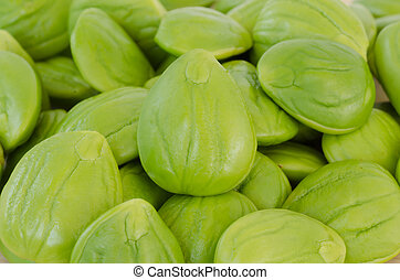 close up of Parkia speciosa beans food background