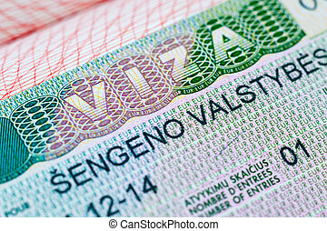 Schengen visa stamp in the passport
