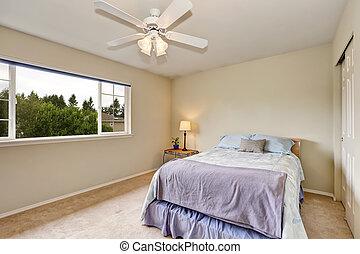 chambre à coucher, intérieur, dans, pastel, bleu, et, beige,...