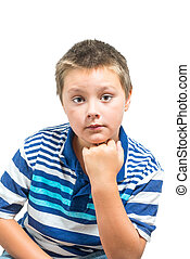 Preteen Boy Making Facial Expressions. Non-isolated On White...