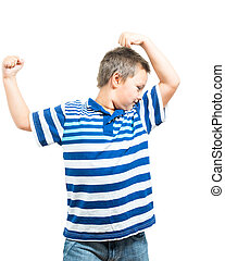 Preteen Boy Flexing His Muscles Showing Strength - Preteen...