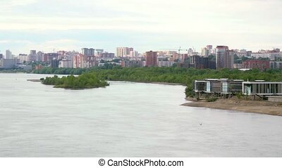 beautiful view of Ob River in Novosibirsk.