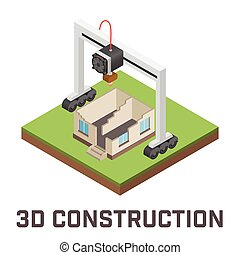 Industrial 3D printer prints a house concept Isometric...