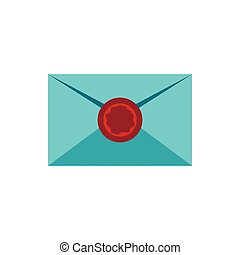 Letter with sealing wax icon, flat style - Letter with...