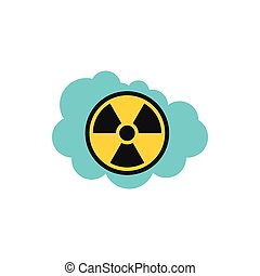Radioactive air icon, flat style - Radioactive air icon in...