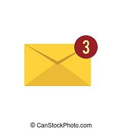 Three new e-mail icon, flat style