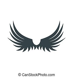 Two wings of bird icon, flat style