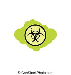 Radioactive cloud icon, flat style - Radioactive cloud icon...