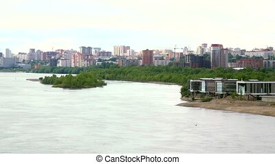 beautiful view of Ob River in Novosibirsk with flying birds....