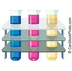 three test tubes with colorful liquids
