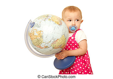 Portrait of little girl with globe in hands, on it. White background.  Horizontal format.