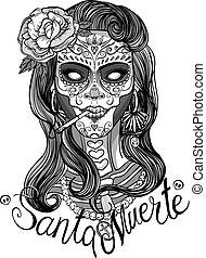 sugar skull woman - woman with sugar skull makeup, day of...