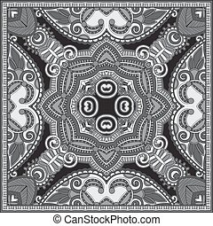 black and white authentic silk neck scarf or kerchief square...