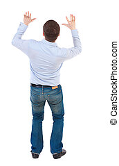Businessman defends his hands on top of something