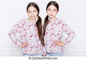 cute little girls posing - Portrait of a cute little girls...
