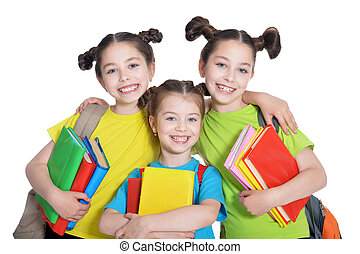 cute little girls with book - portrait of cute little girls...