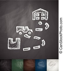 destination icon Hand drawn vector illustration Chalkboard...