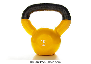 yellow kettle-bell weight, isolated on white background