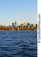 view of Seattle, Washington skyline from across the water