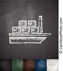 cargo ship icon Hand drawn vector illustration Chalkboard...