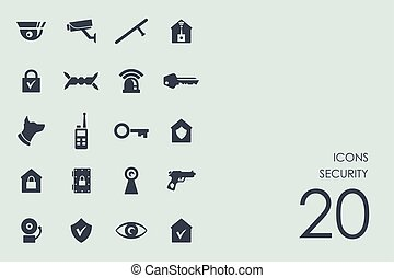 Set of security icons - security vector set of modern simple...