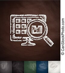 warehouse icon Hand drawn vector illustration Chalkboard...