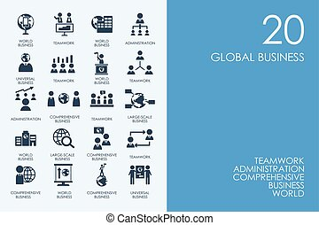 Set of BLUE HAMSTER Library global business icons