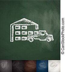 warehouse and the truck icon Hand drawn vector illustration...
