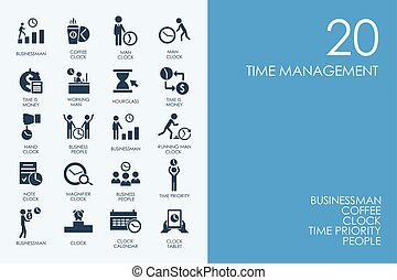 Set of BLUE HAMSTER Library time management icons - BLUE...