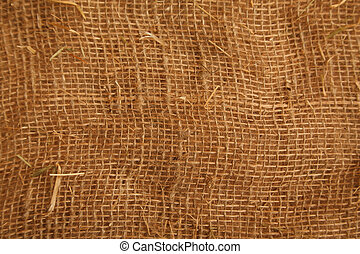 Texture high resolution of brown color of coarse cloth. Close up. Horizontal format.